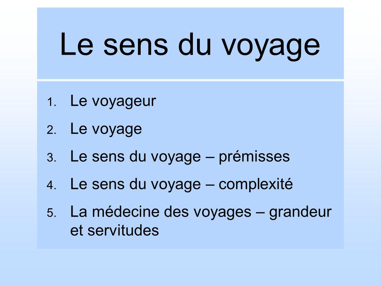 Le sens du voyage Le voyageur Le voyage Le sens du voyage – prémisses