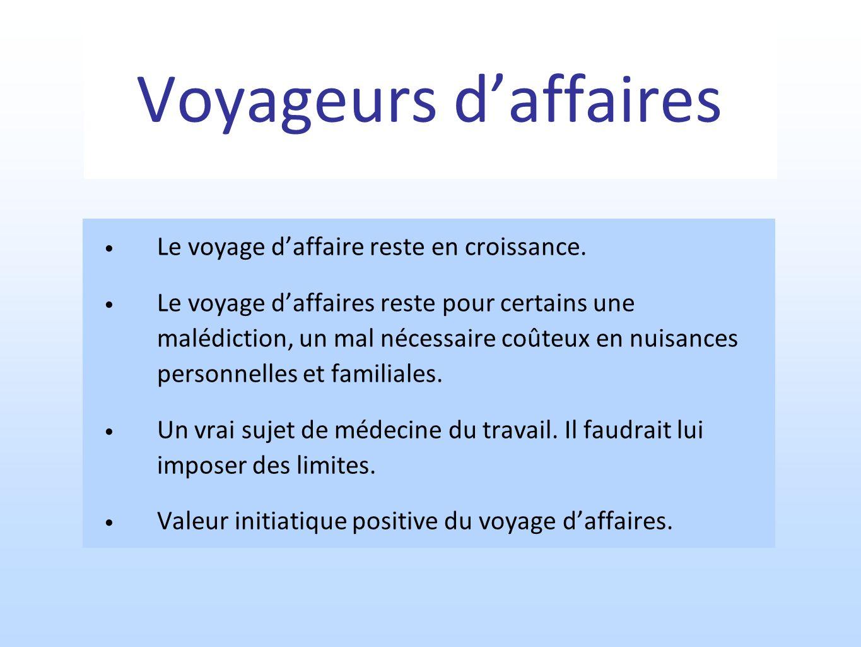 Voyageurs d'affaires Le voyage d'affaire reste en croissance.