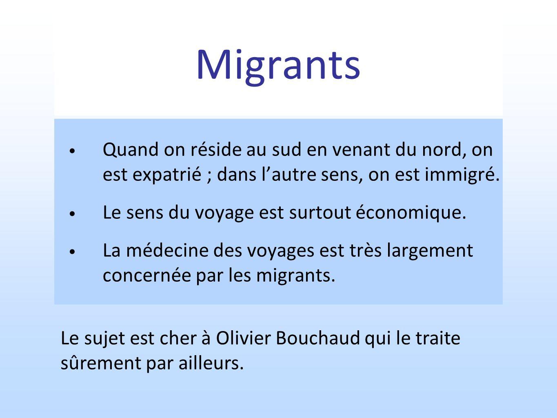 Migrants Quand on réside au sud en venant du nord, on est expatrié ; dans l'autre sens, on est immigré.