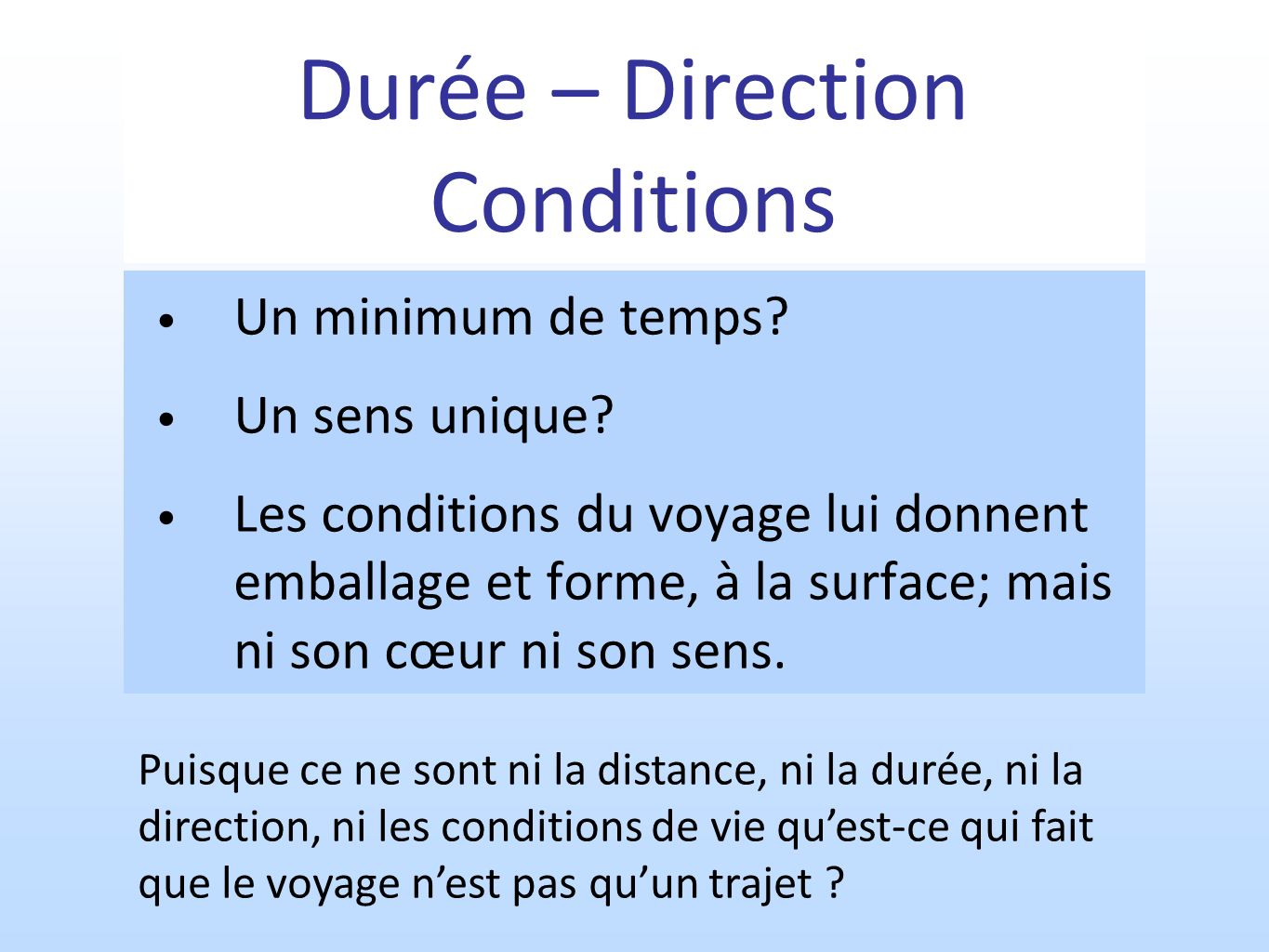 Durée – Direction Conditions
