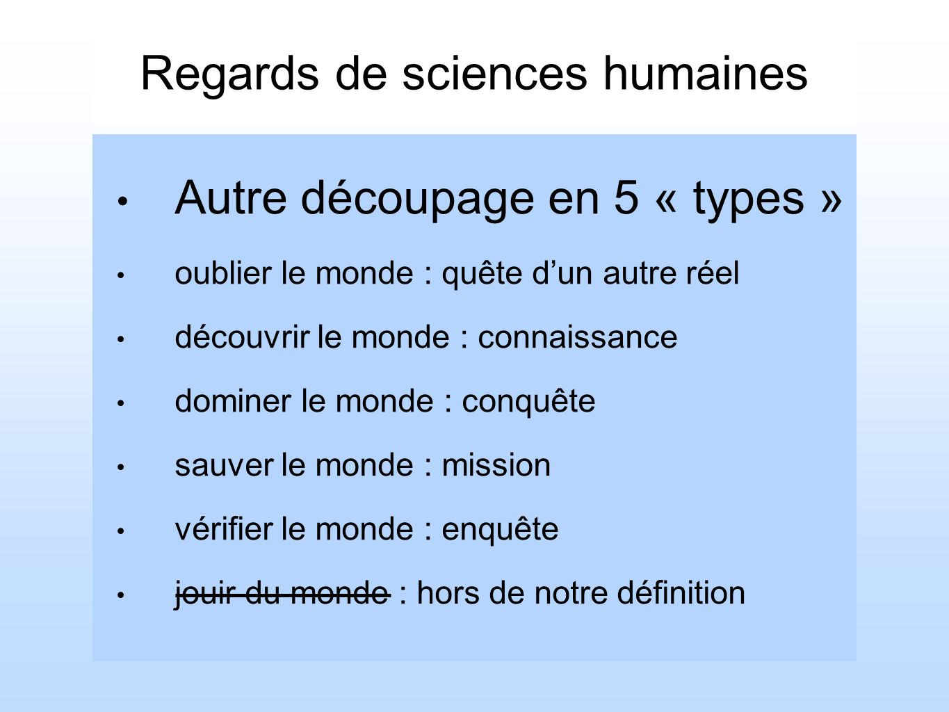 Regards de sciences humaines