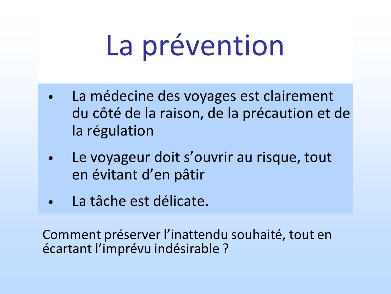 La prévention La médecine des voyages est clairement du côté de la raison, de la précaution et de la régulation.