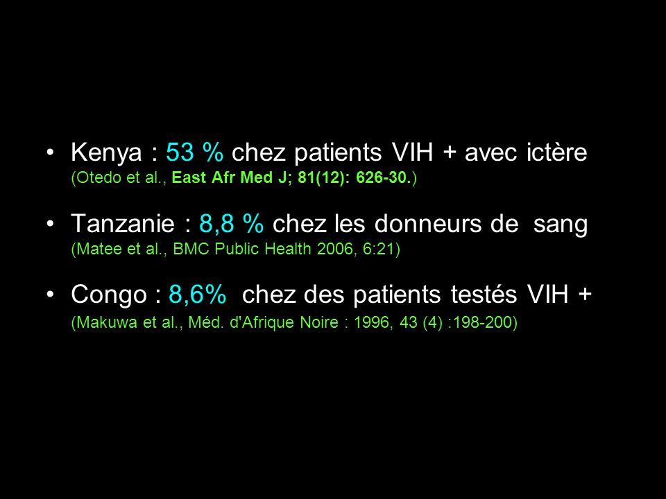 Kenya : 53 % chez patients VIH + avec ictère