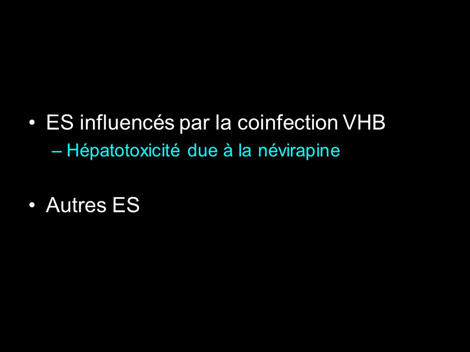 ES influencés par la coinfection VHB