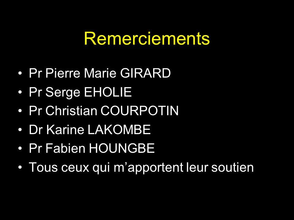 Remerciements Pr Pierre Marie GIRARD Pr Serge EHOLIE
