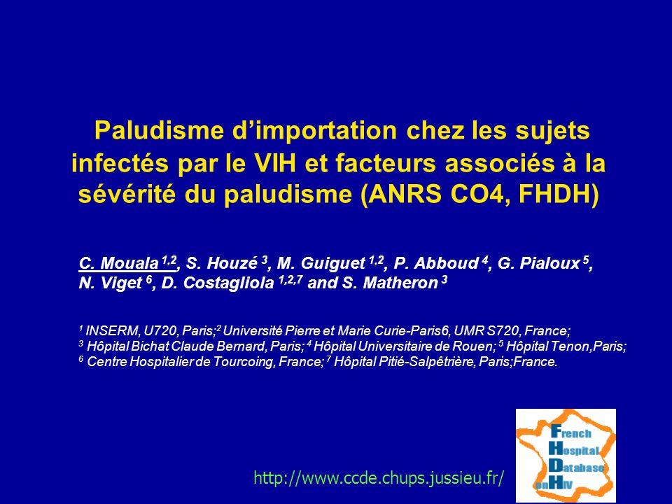 Paludisme d'importation chez les sujets infectés par le VIH et facteurs associés à la sévérité du paludisme (ANRS CO4, FHDH)