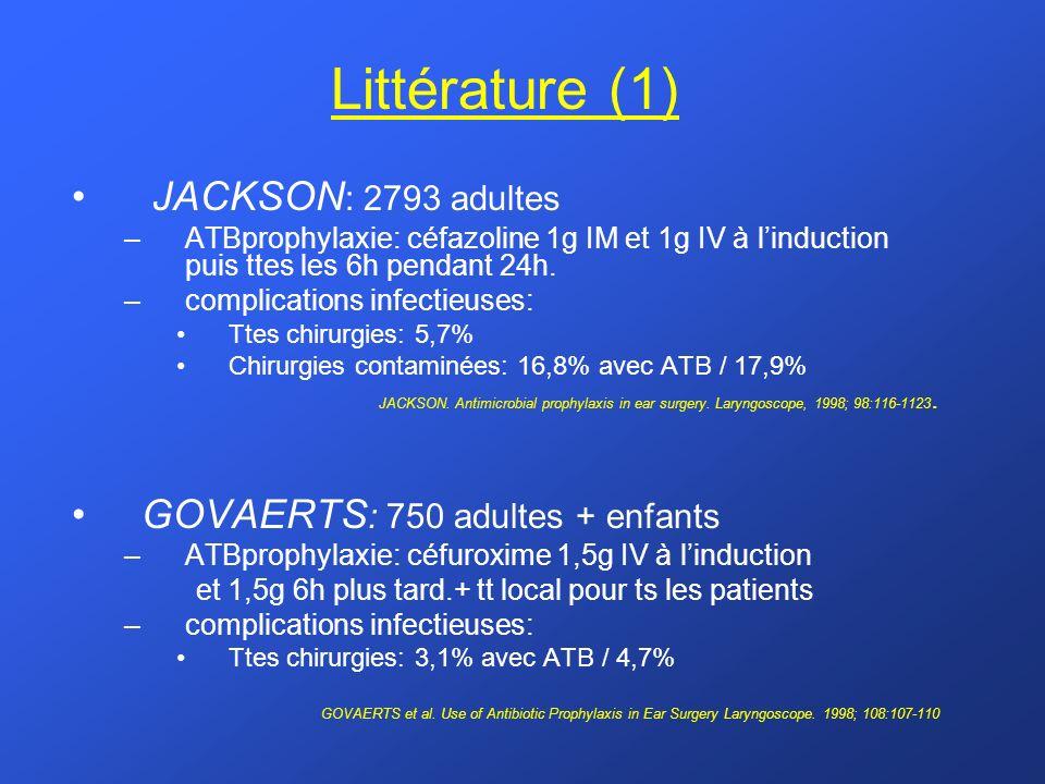 Littérature (1) JACKSON: 2793 adultes GOVAERTS: 750 adultes + enfants