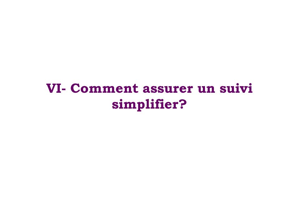 VI- Comment assurer un suivi simplifier