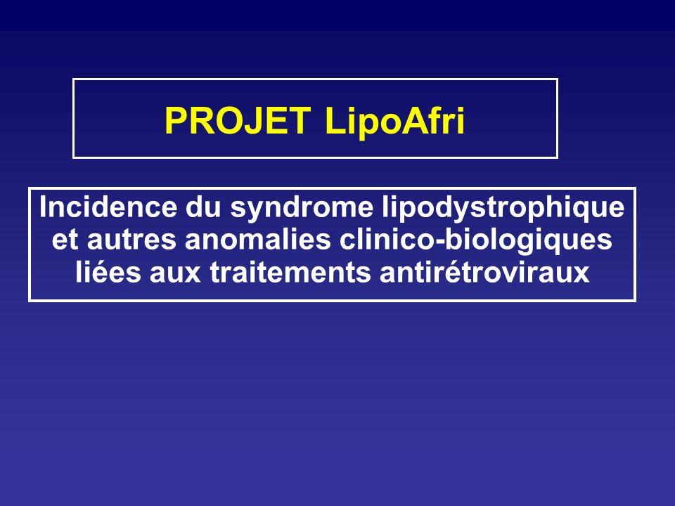 PROJET LipoAfri Incidence du syndrome lipodystrophique et autres anomalies clinico-biologiques liées aux traitements antirétroviraux.