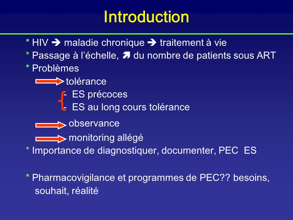 Introduction * HIV  maladie chronique  traitement à vie