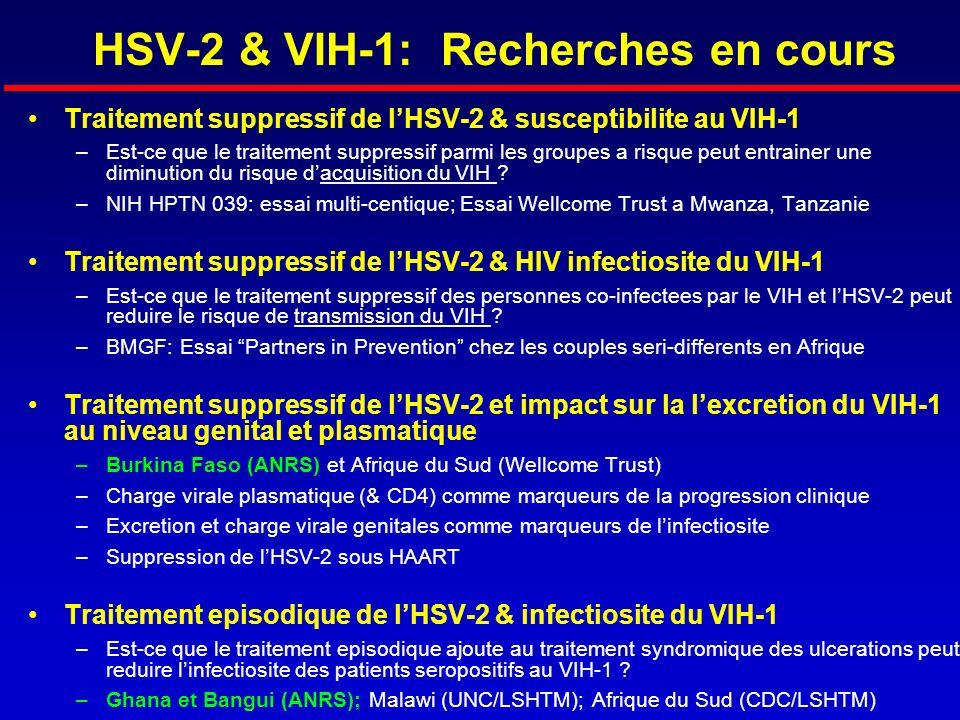 HSV-2 & VIH-1: Recherches en cours