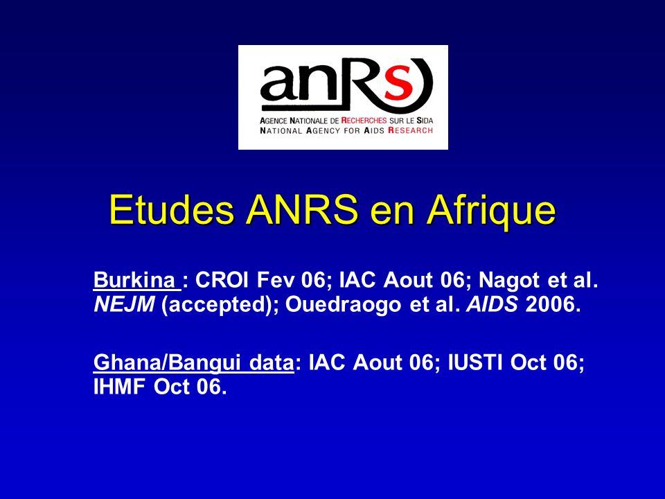 Etudes ANRS en Afrique Burkina : CROI Fev 06; IAC Aout 06; Nagot et al. NEJM (accepted); Ouedraogo et al. AIDS 2006.