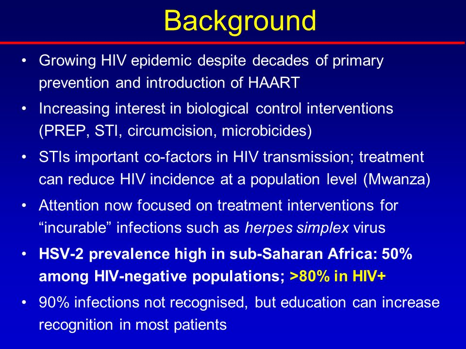 Background Growing HIV epidemic despite decades of primary prevention and introduction of HAART.