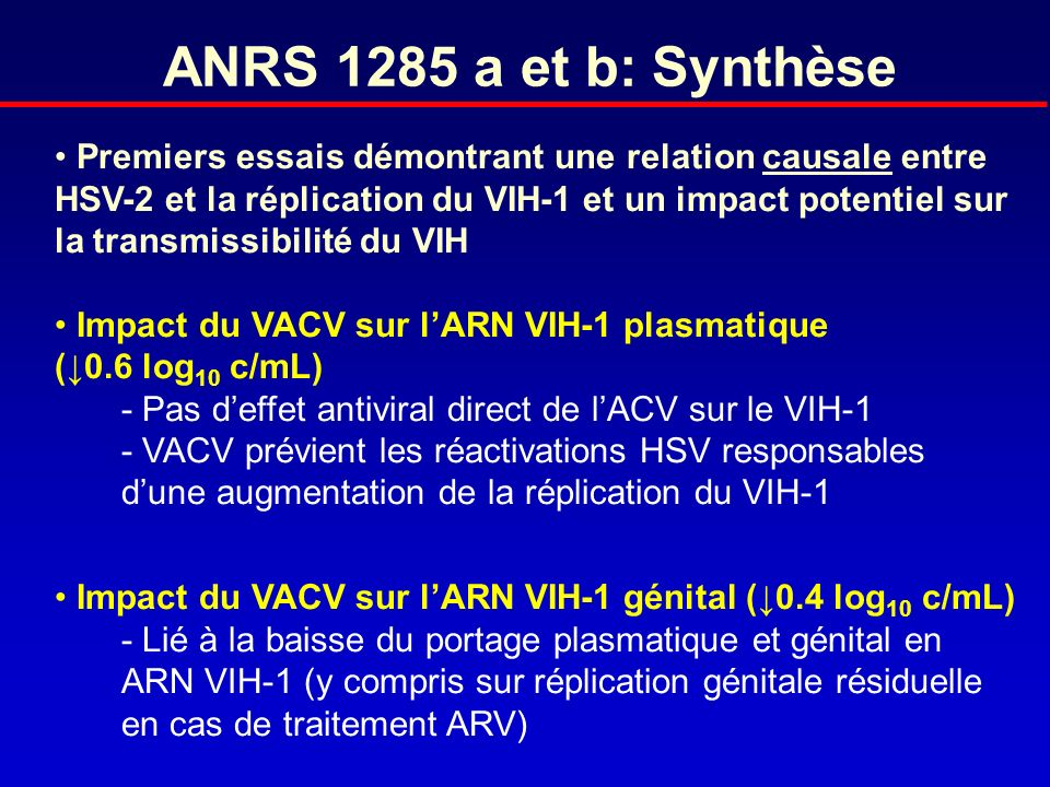 ANRS 1285 a et b: Synthèse