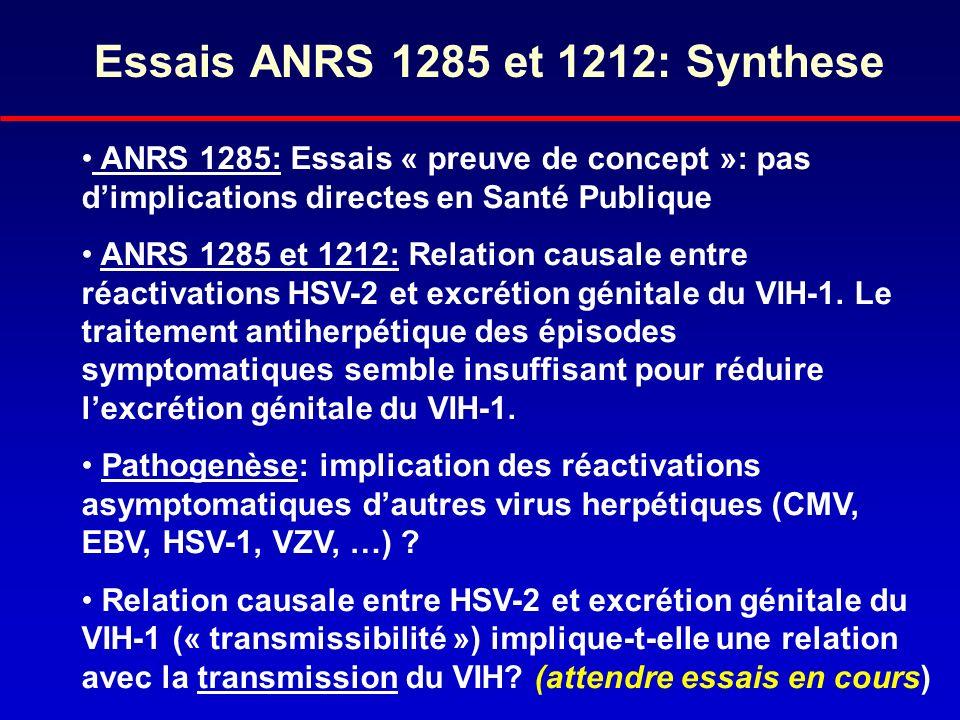 Essais ANRS 1285 et 1212: Synthese