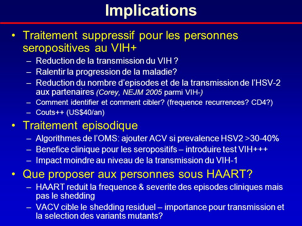 Implications Traitement suppressif pour les personnes seropositives au VIH+ Reduction de la transmission du VIH