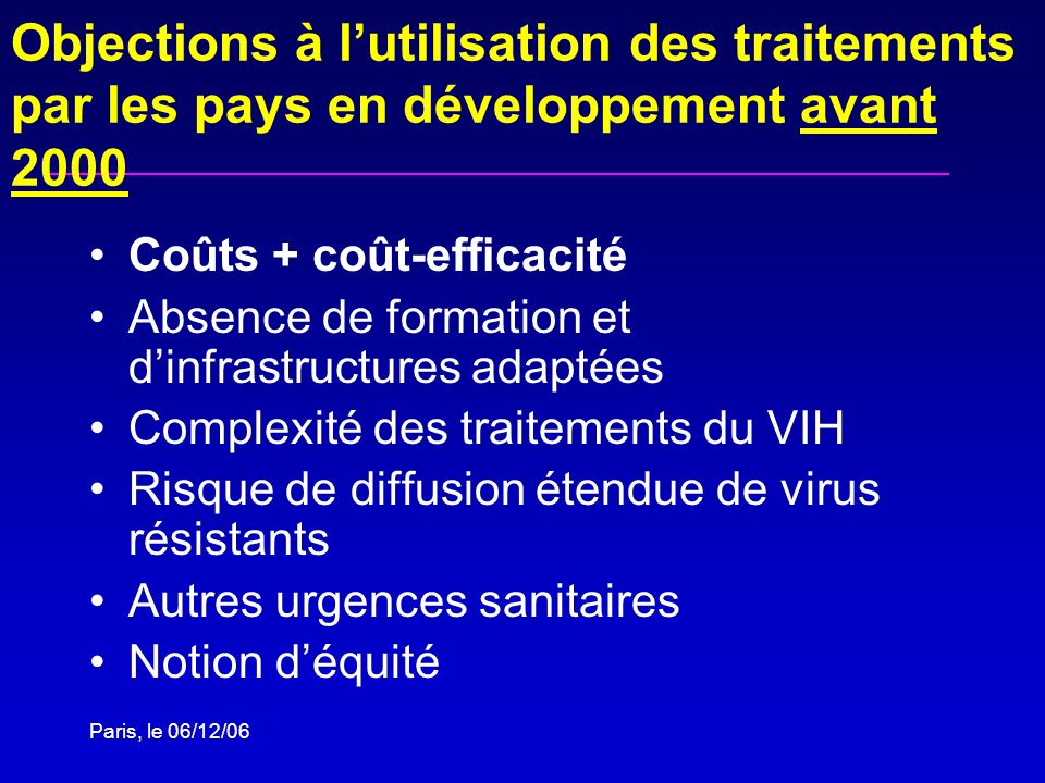 Objections à l'utilisation des traitements par les pays en développement avant 2000