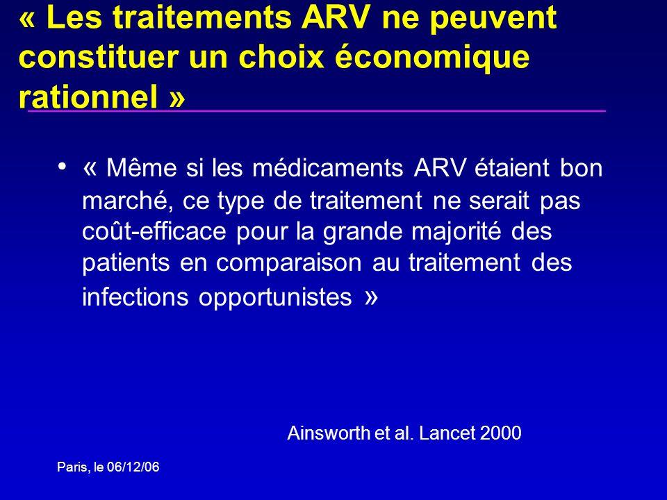 « Les traitements ARV ne peuvent constituer un choix économique rationnel »