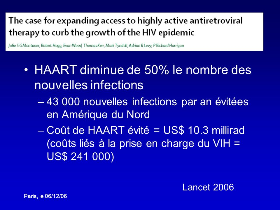 HAART diminue de 50% le nombre des nouvelles infections