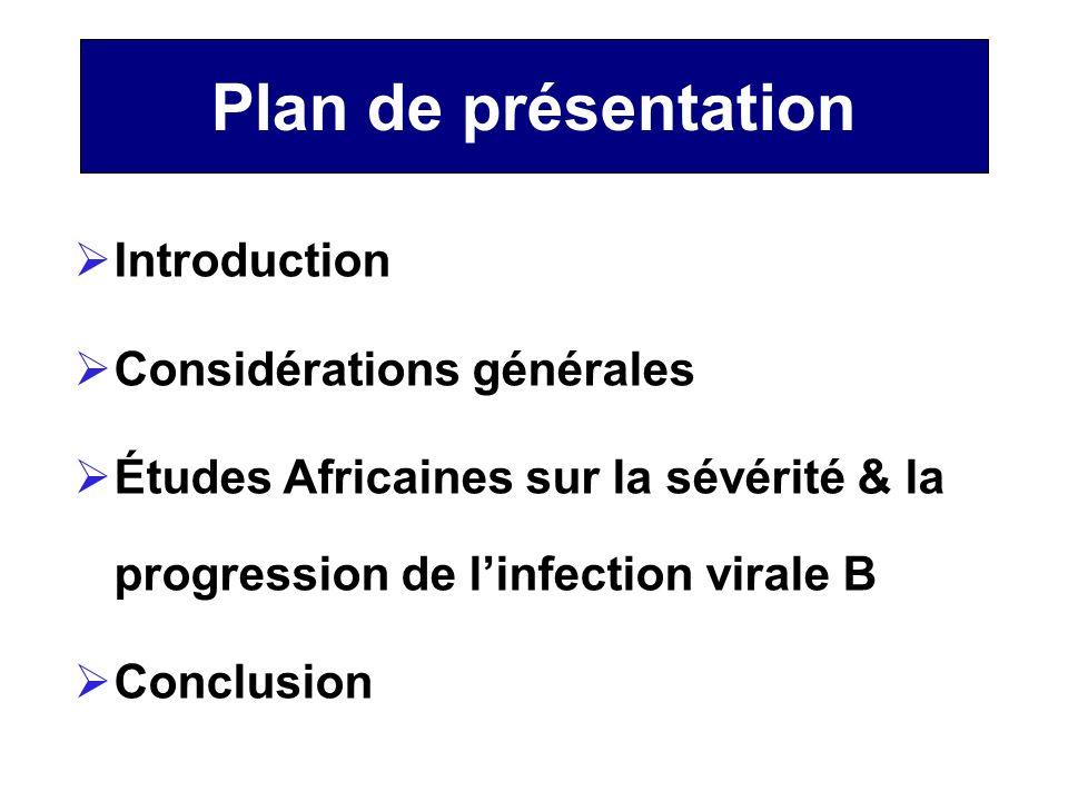Plan de présentation Introduction Considérations générales