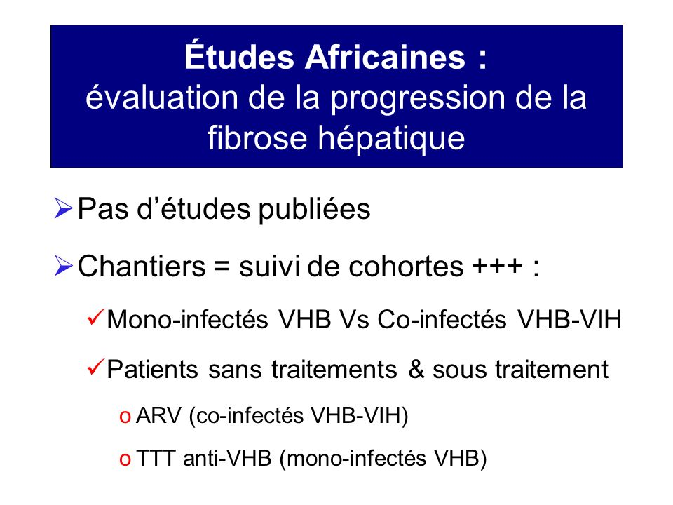 Études Africaines : évaluation de la progression de la fibrose hépatique