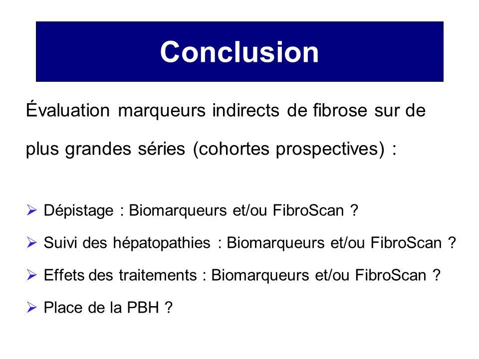 Conclusion Évaluation marqueurs indirects de fibrose sur de