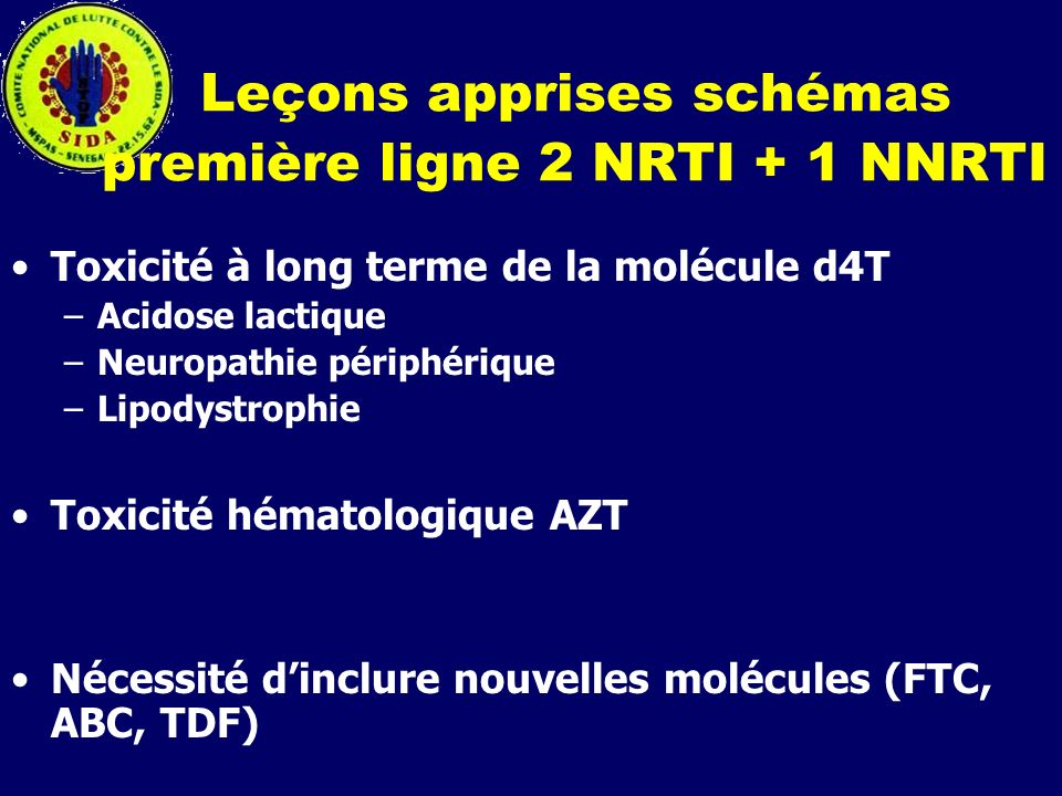 Leçons apprises schémas première ligne 2 NRTI + 1 NNRTI