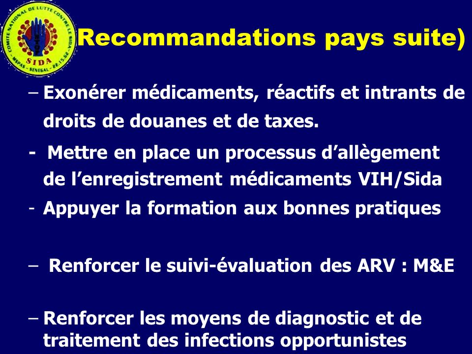 Recommandations pays suite)