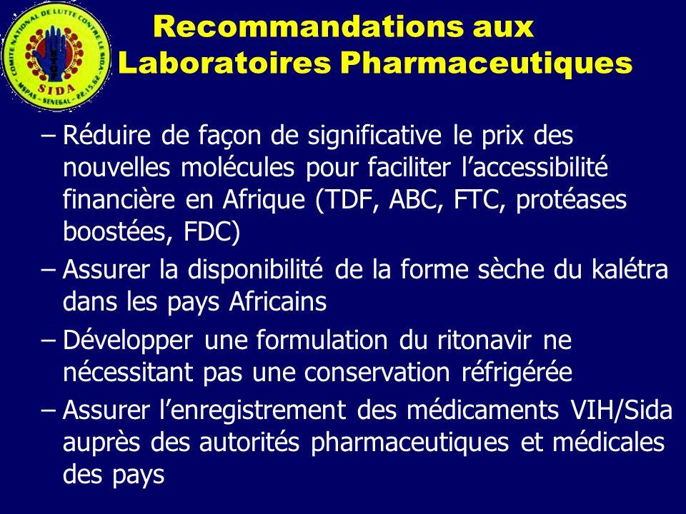 Recommandations aux Laboratoires Pharmaceutiques