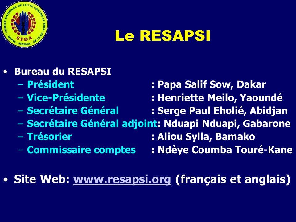 Le RESAPSI Bureau du RESAPSI. Président : Papa Salif Sow, Dakar. Vice-Présidente : Henriette Meilo, Yaoundé.