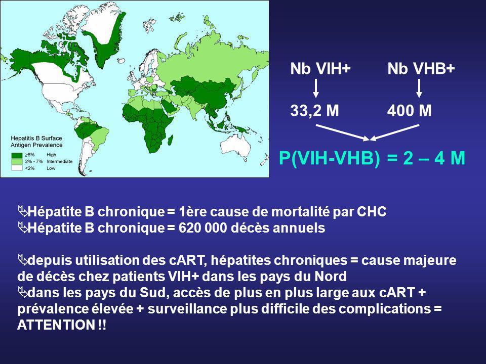 P(VIH-VHB) = 2 – 4 M Nb VIH+ Nb VHB+ 33,2 M 400 M