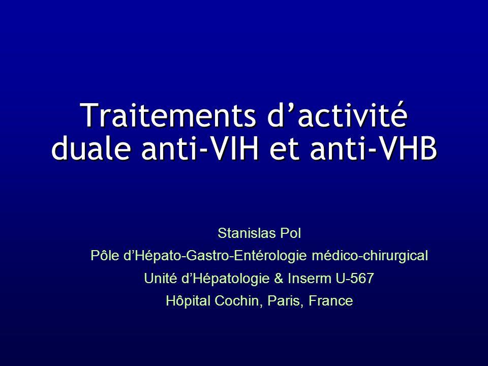Traitements d'activité duale anti-VIH et anti-VHB