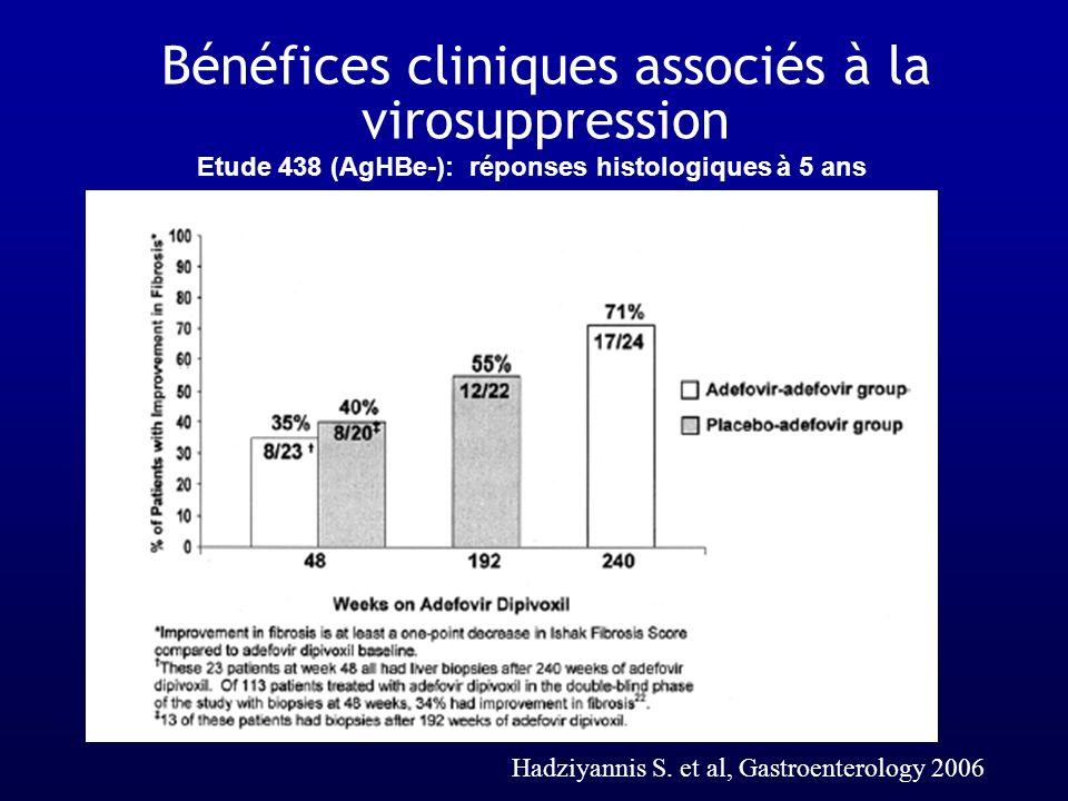 Etude 438 (AgHBe-): réponses histologiques à 5 ans