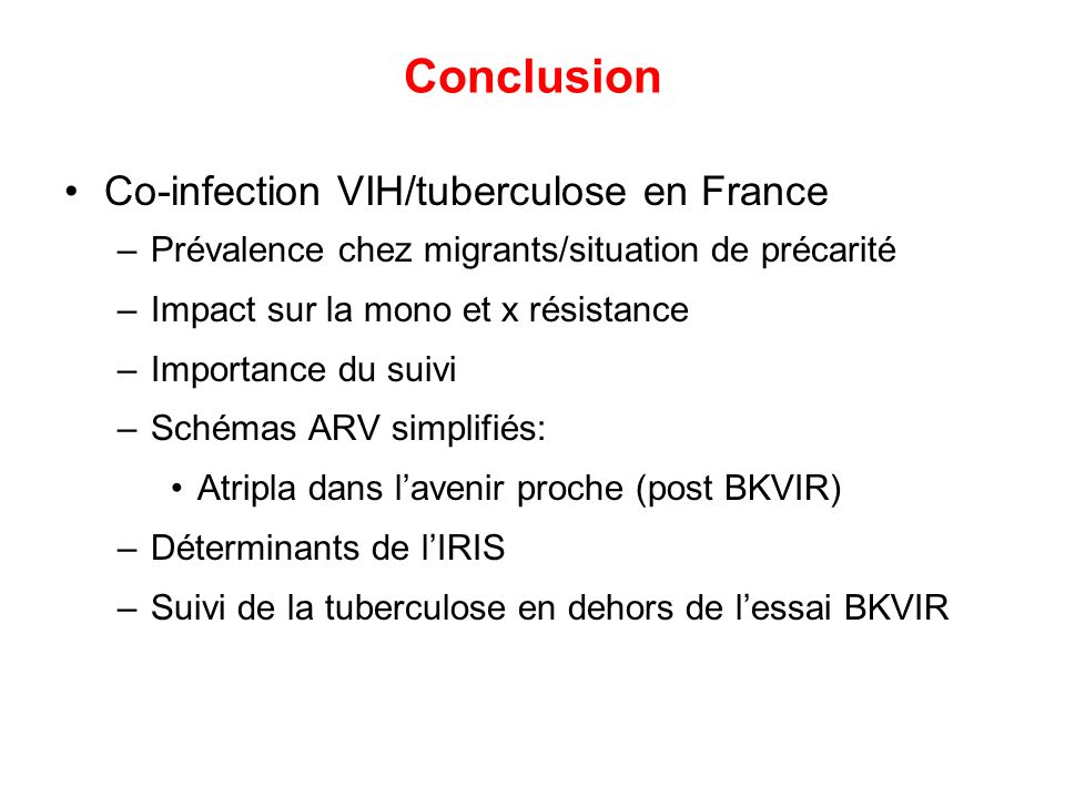 Conclusion Co-infection VIH/tuberculose en France
