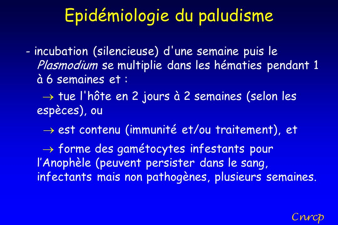 Epidémiologie du paludisme