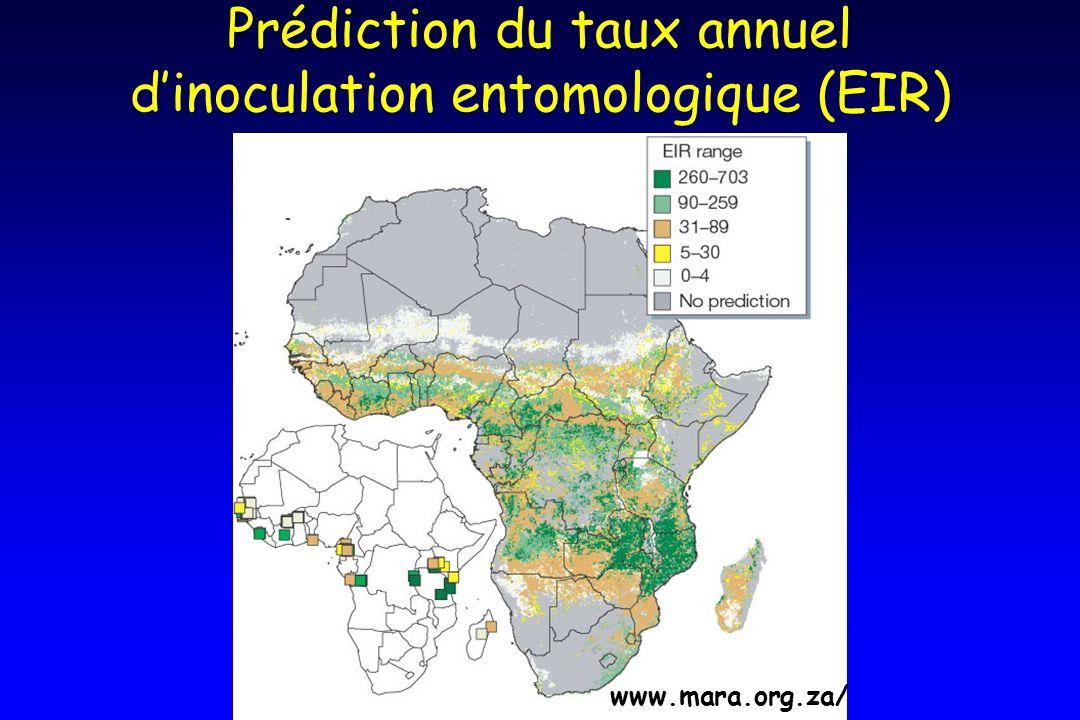 Prédiction du taux annuel d'inoculation entomologique (EIR)