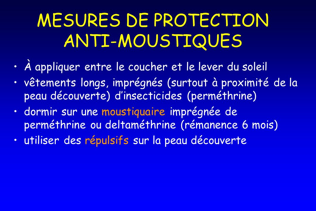 MESURES DE PROTECTION ANTI-MOUSTIQUES