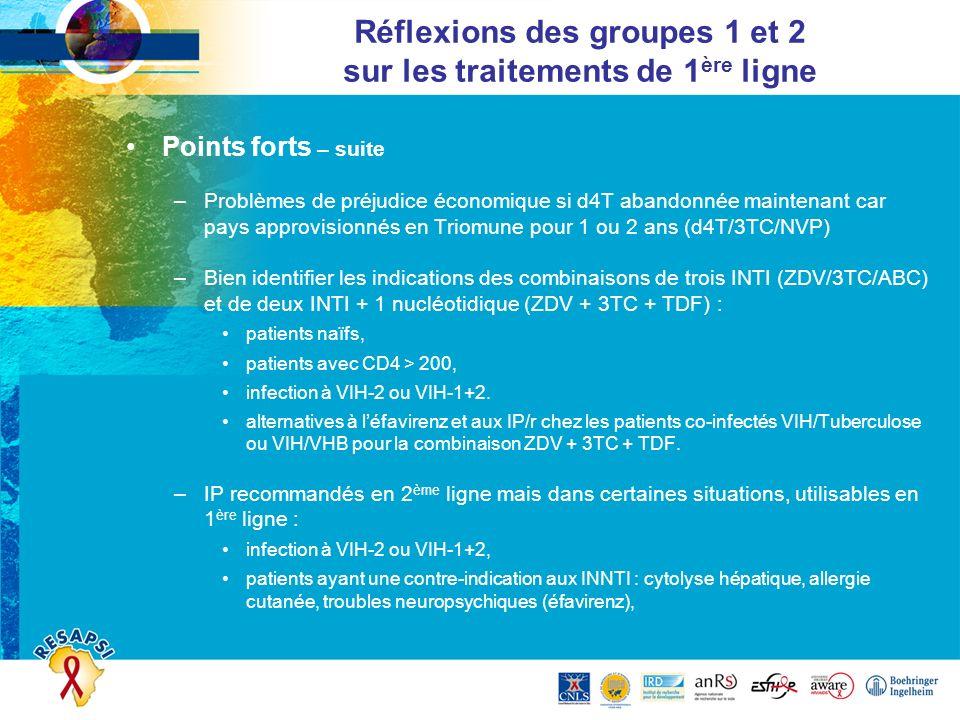 Réflexions des groupes 1 et 2 sur les traitements de 1ère ligne