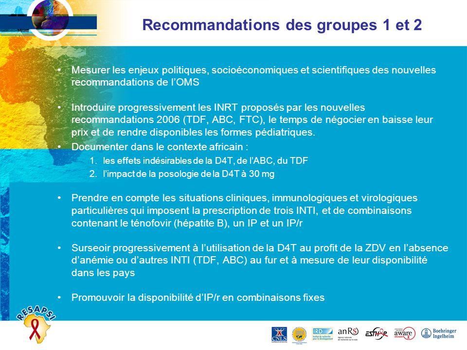 Recommandations des groupes 1 et 2