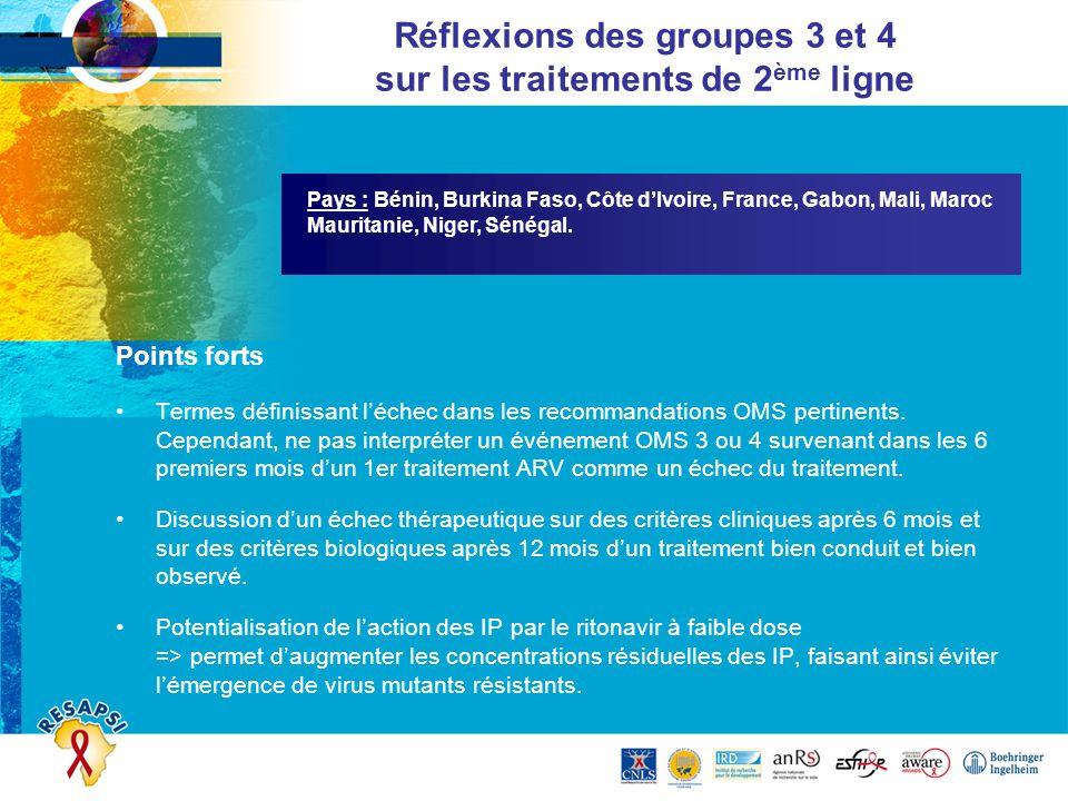 Réflexions des groupes 3 et 4 sur les traitements de 2ème ligne