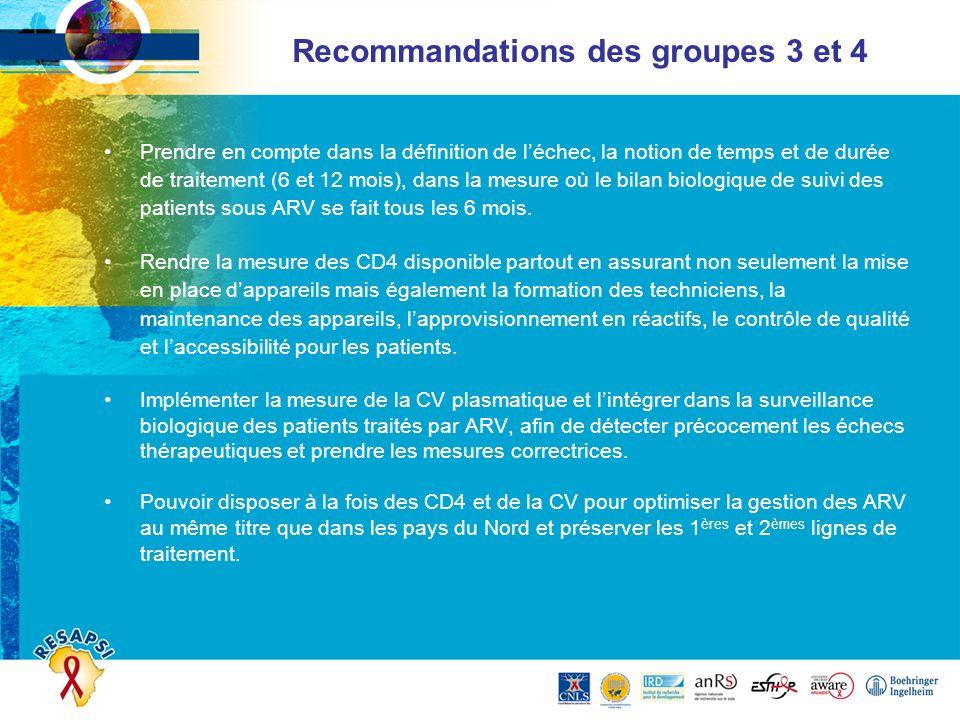 Recommandations des groupes 3 et 4