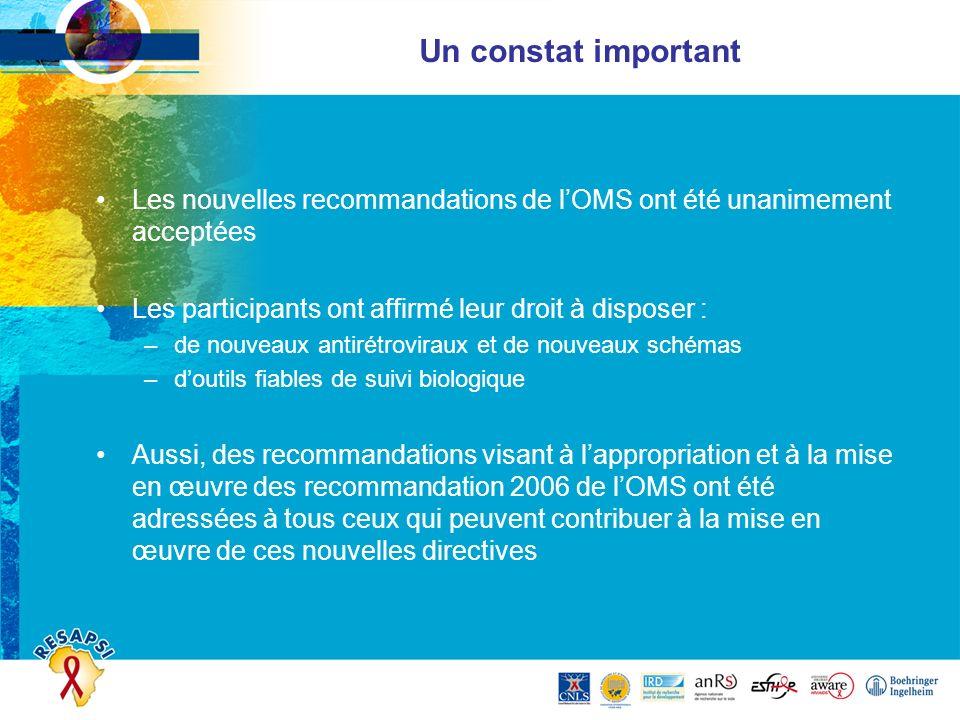 Un constat important Les nouvelles recommandations de l'OMS ont été unanimement acceptées. Les participants ont affirmé leur droit à disposer :