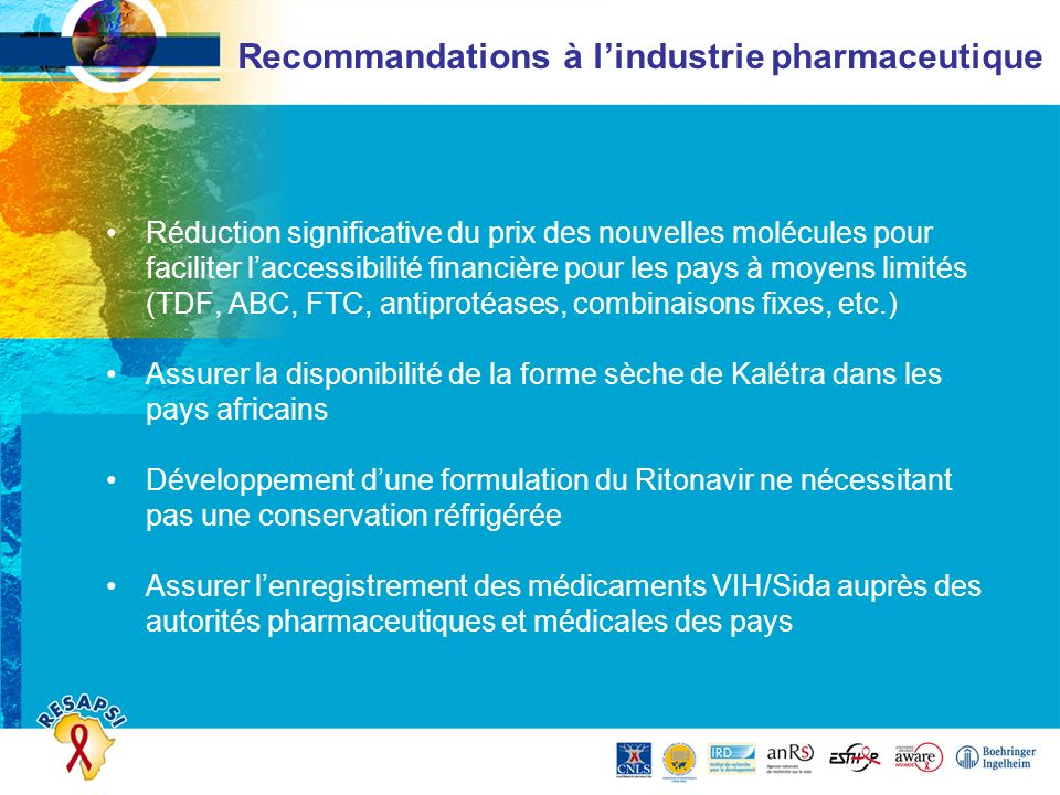 Recommandations à l'industrie pharmaceutique