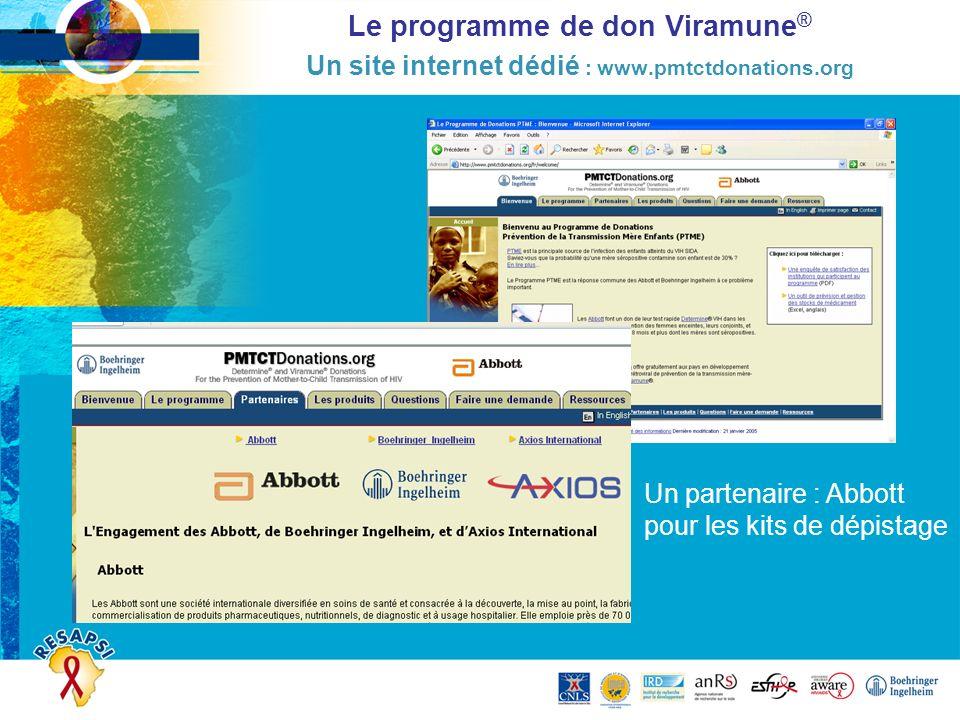 Le programme de don Viramune® Un site internet dédié : www