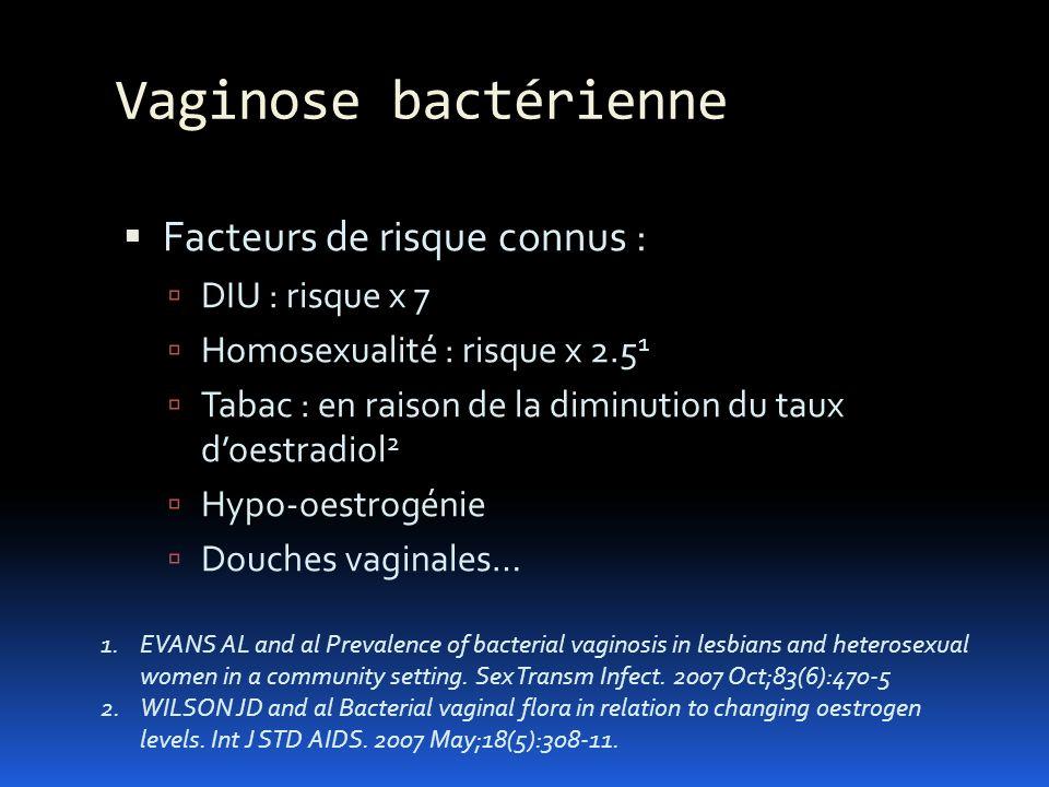 Vaginose bactérienne Facteurs de risque connus : DIU : risque x 7
