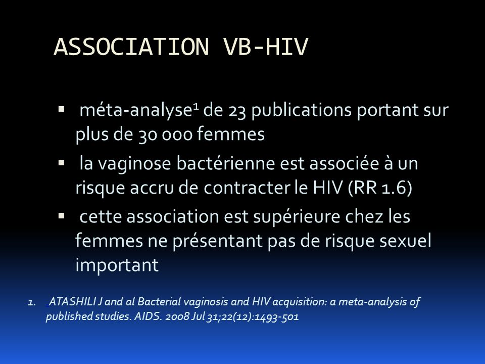 ASSOCIATION VB-HIV méta-analyse1 de 23 publications portant sur plus de femmes.