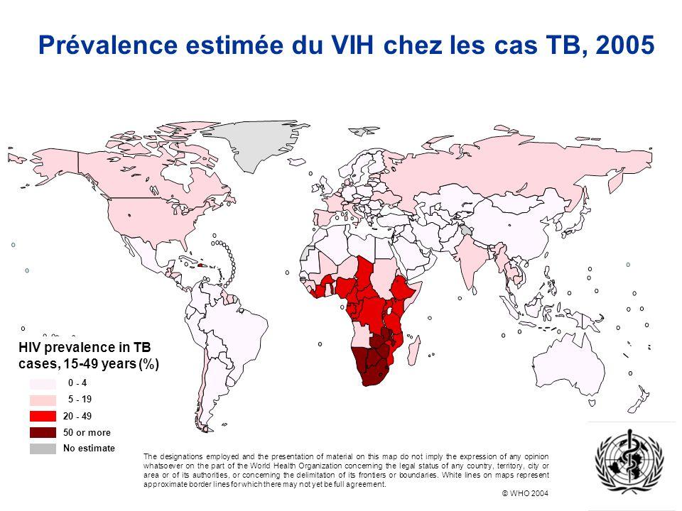 Prévalence estimée du VIH chez les cas TB, 2005