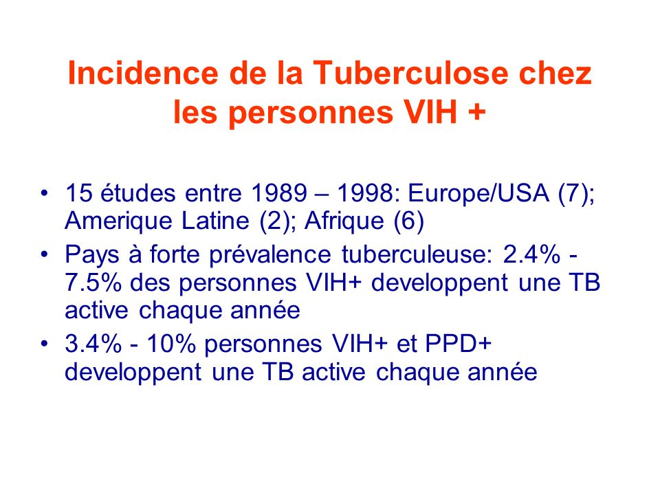 Incidence de la Tuberculose chez les personnes VIH +
