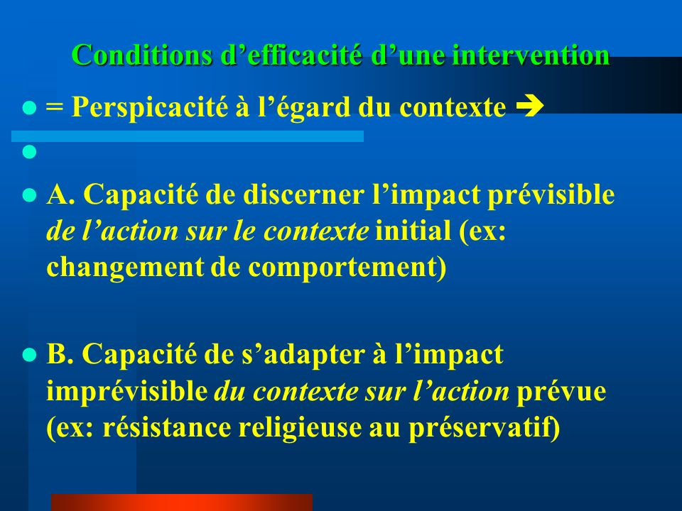 Conditions d'efficacité d'une intervention