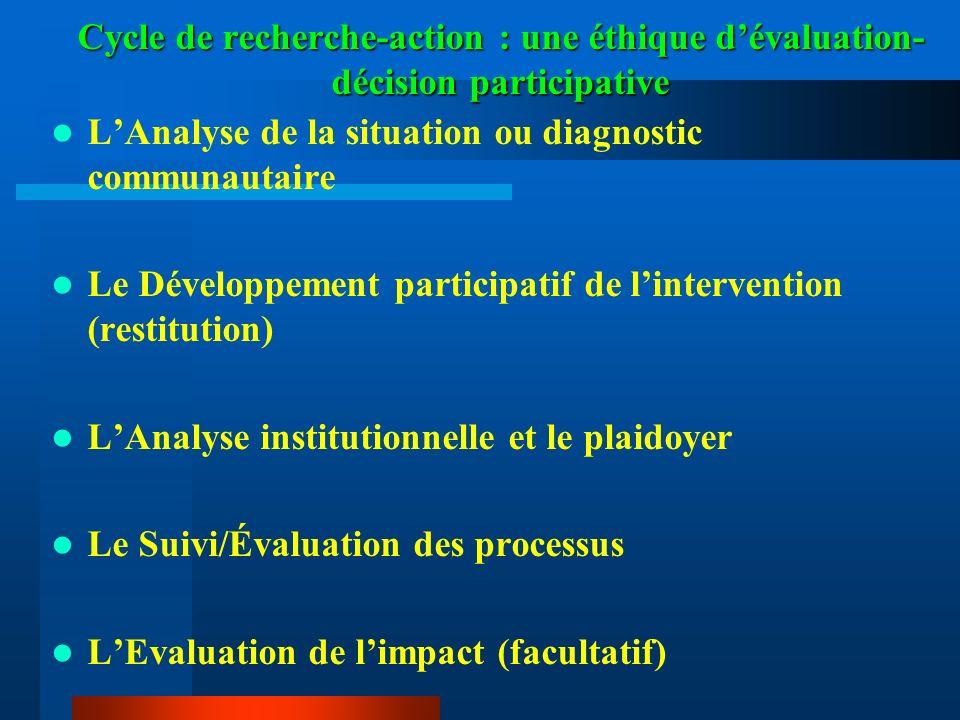Cycle de recherche-action : une éthique d'évaluation-décision participative